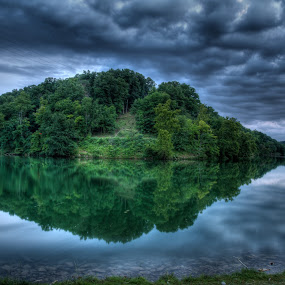 A Cloudy Evening by Vamsi Korabathina - Landscapes Waterscapes ( clouds, reflection, waterscape, green, cloudy, evening )