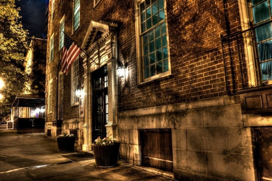 Knoxville at Night by Joshua Winstead - City,  Street & Park  Street Scenes ( flag, vols, knoxville, american, street, tennessee, night, downtown, sidewalk, city at night, street at night, park at night, nightlife, night life, nighttime in the city )