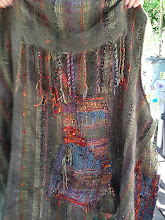 """Photo: a friends """"tribal"""" vest saori weaving i helps to fit it on here"""