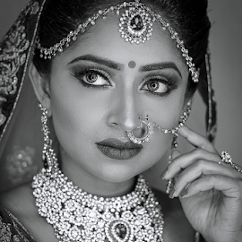 Indian Beauty by Paul Phull - People Portraits of Women ( bride, beautiful, black and white, eyes, indian )