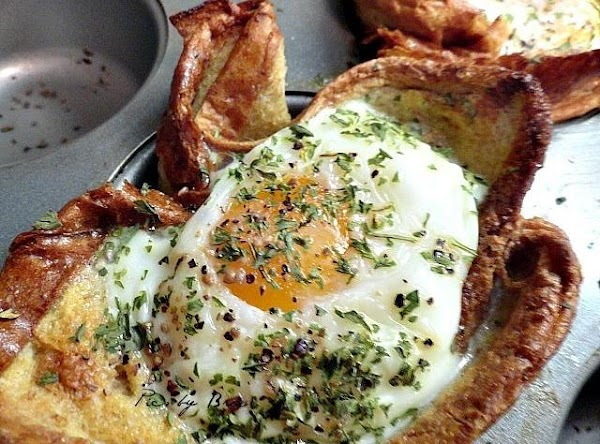 Eggs- crack open and drop them in to the baskets. Bake at 375 for...