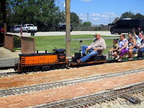 Photo: Bob Barnett stopping the final passenger train of the day at 1:56 PM.      HALS Public Run Day 2015-0919 RPW