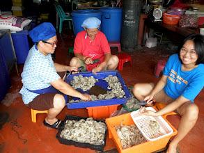 Photo: preparing the shrimp for dinner at the restaurant