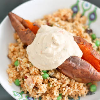 Harissa Couscous and Roasted Sweet Potato.