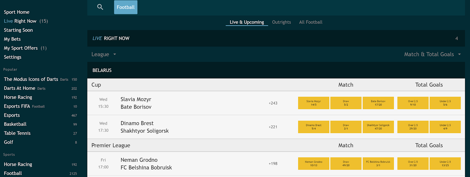 There are lots of sports you can bet on at Grosvenor Casinos