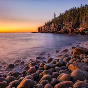 Bolder Beach  by Ernie Page - Landscapes Beaches ( national park, maine, morning light, nature, color, beach, sunrise, morning, landscape, acada national park )