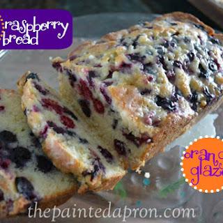 Blue Raspberry Bread with Orange Glaze.
