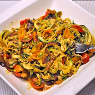 Zucchini Noodles with Cherry Tomatoes.