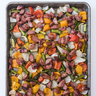 One Pan Roasted Peppers, Onions, & Sausages.