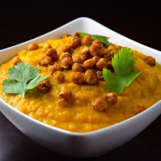Carrot Turmeric Soup with Spiced Chickpeas