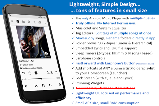 Musicolet Music Player [Free, No ads] screenshots 1