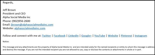 social accounts in email signature