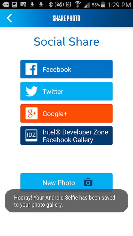 Intel® Selfie App for Android*- screenshot