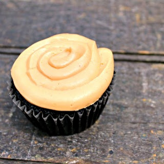 Vegan Dark Chocolate Cupcakes with Peanut Butter Frosting.