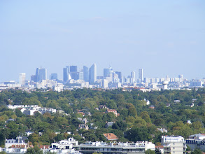 Photo: Here, from the viewing table at the Rosarium, is the La Defense are of Paris - somewhat hazy in this view at moderately high zoom.