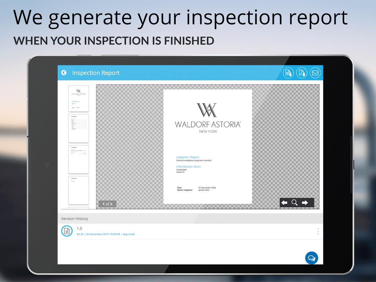 Checkbuster Inspection Reports- screenshot