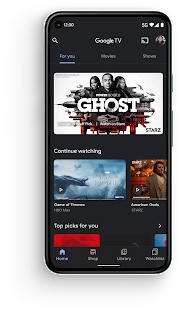 The Google TV app on a mobile phone.