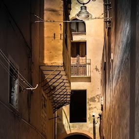 Chatting in tunnel, Cagliari Sardinia by Morten Golimo - City,  Street & Park  Street Scenes ( streetphotography, cagliari, sardinia, silhouettes, chat, morten golimo )