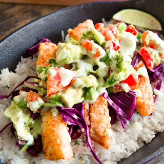 Fish Taco Bowl With Avocado Pico and Jalapeno Crema
