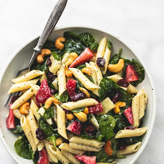 Strawberry Spinach Pasta Salad with Orange Poppy Seed Dressing.