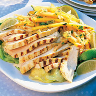 Curried Chicken with Mango and Cantaloupe Slaw.