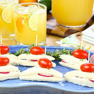 Zesty Punch Sippers and Radish Sandwiches.