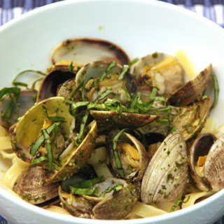 Clams with Pesto and Fettucini