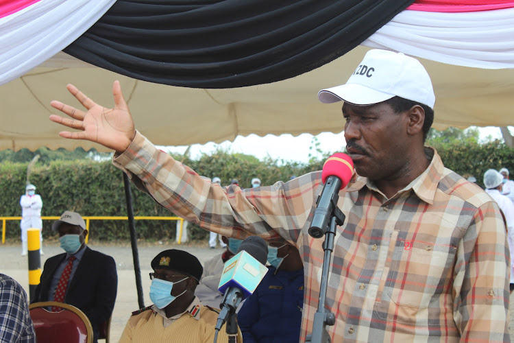 Agriculture CS Peter Munya addresses dairy farmers representatives at the New KCC, Kiganjo Factory in Nyeri on Friday, June 3, 2020