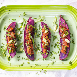 Purple Sweet Potatoes with Miso Butter.