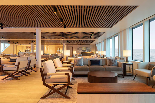 Stretch out and relax in the Explorer Lounge on Silver Origin, the luxury ship built for experiential travel.