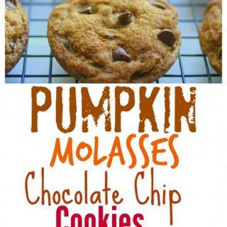 Soft Baked Pumpkin Molasses Chocolate Chip Cookies.