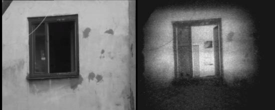 Photo: Слева: открытое окно в здании напротив, освещенное солнцем. Внутреннее помещение не просматривается ни визуально, ни с помощью ТВК.  Справа: то же окно, но наблюдаемое с помощью прибора «Призрак-М». Внутри помещения видны противоположная стена с доской объявлений и дверь.