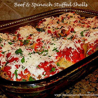 Beef And Spinach Stuffed Shells.