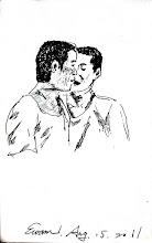 Photo: 耳語2011.08.15鋼筆 兩位收容人耳朵湊這麼近,令我不禁好奇不知在說些什麼…