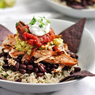 Healthy Shredded Chicken Burrito Bowl.