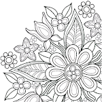 Flowers Mandala coloring book Icon