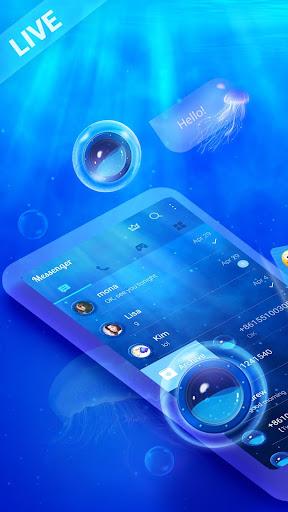 Messenger SMS - 3D Ocean Theme, Call app, Emojis screenshot 2