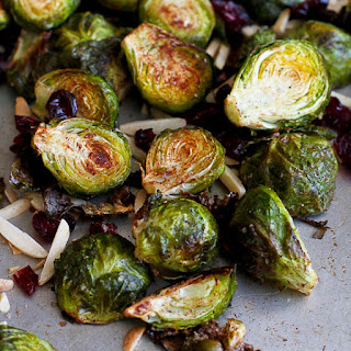 Cinnamon Roasted Brussels Sprouts with Toasted Almonds.