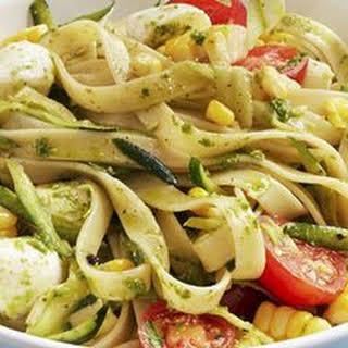 Pasta with Tomatoes, Zucchini, and Pesto.