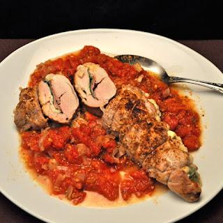 Pork Tenderloin Stuffed with Spinach and Mozzarella.