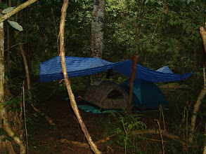 Photo: Camp for the rainy night. August is one of the heaviest rainy months in Thailand.