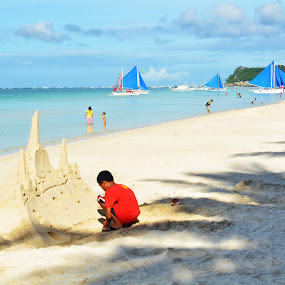 the sand castle maker by Philip Familara - Landscapes Beaches ( sands, sand, tourist, play, castle, beach, philippines, whitebeach, island,  )