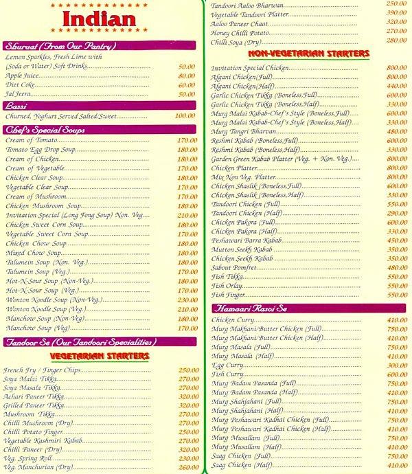 menu of invitation ashok vihar phase 2