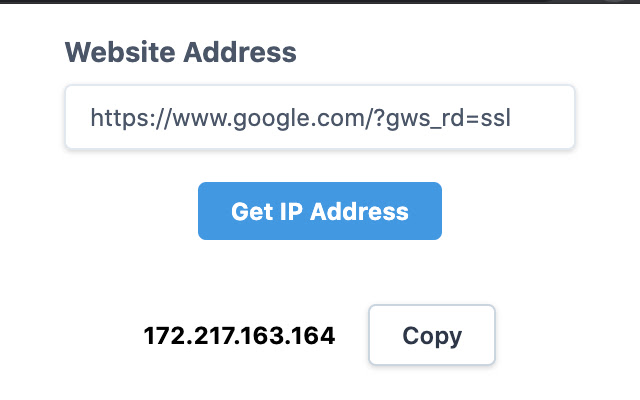 IP Address of the website
