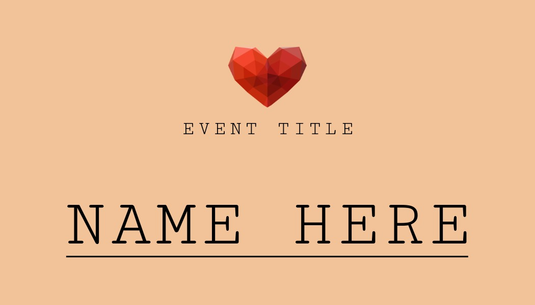 Place card template with heart