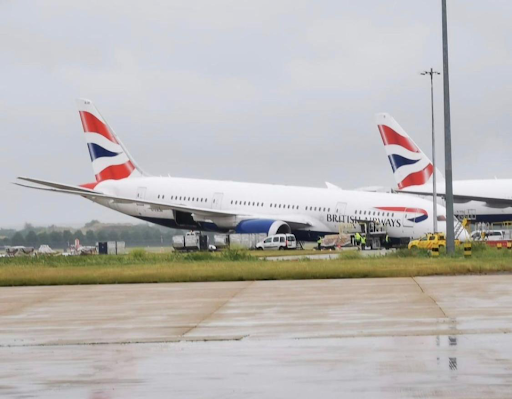 Dramatic moment British Airways plane's nose COLLAPSES at Heathrow sparking chaos