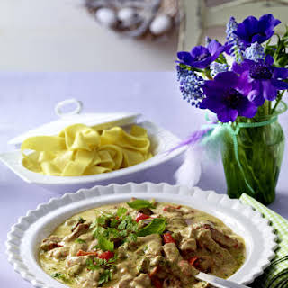 Pork in Pesto and Cream Sauce With Fetuccine.