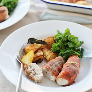 Prosciutto Wrapped Turkey Mini Fillets with Sage and Sausage Stuffing.