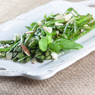 Grilled Asparagus with Feta, Almonds and Basil