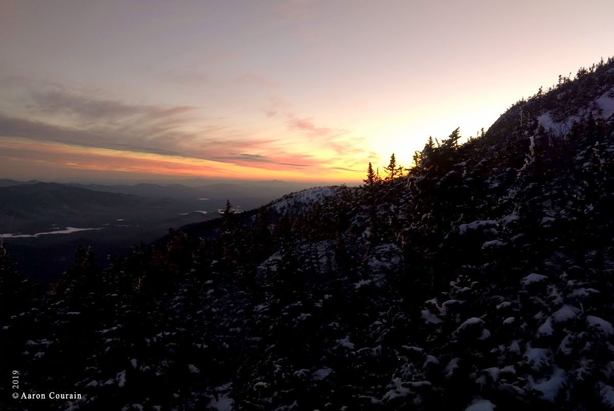 Sunset while bushwhacking up Mt. Marcy, photo by Aaron Courain